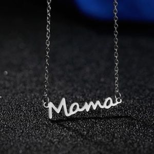 Mama Cursive Silver Necklace